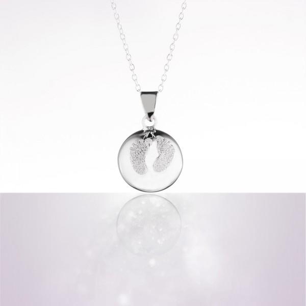 Bola de grossesse baby feet pieds poudre de diamant avec chaîne argent 925 Cache coeur