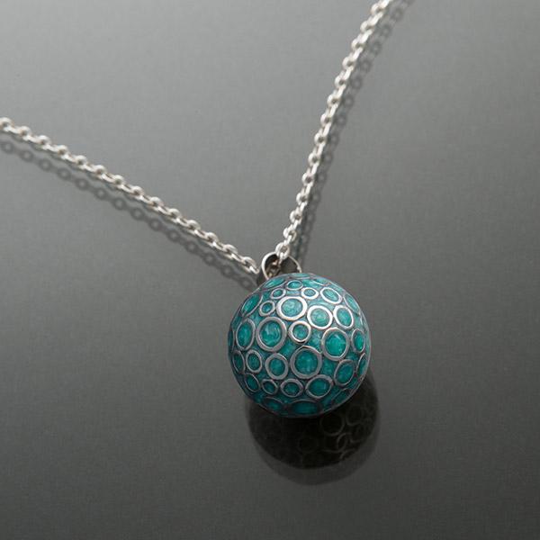 Bola de grossesse bulle turquoise avec chaîne argent 925 Cache coeur
