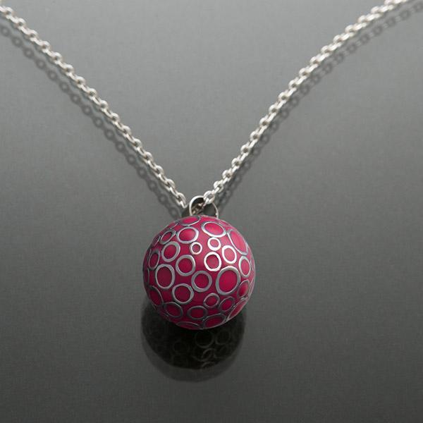 Bola de grossesse bulle fushia avec chaîne argent 925 Cache coeur