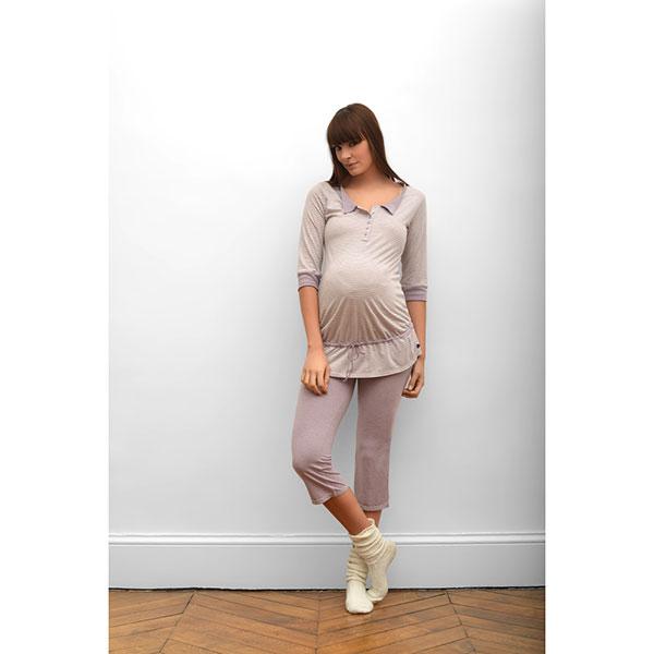 Corsaire pyjama de maternité joy parme Cache coeur