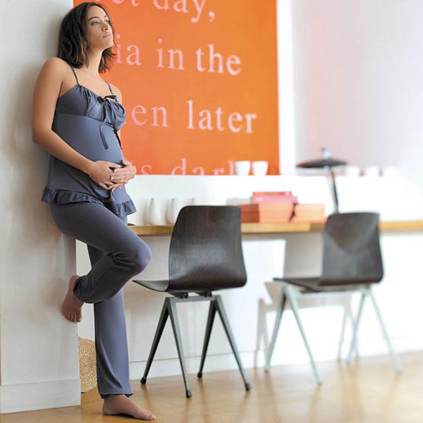 Pyjama de maternité et d'allaitement 2 pièces delicious ardoise Cache coeur