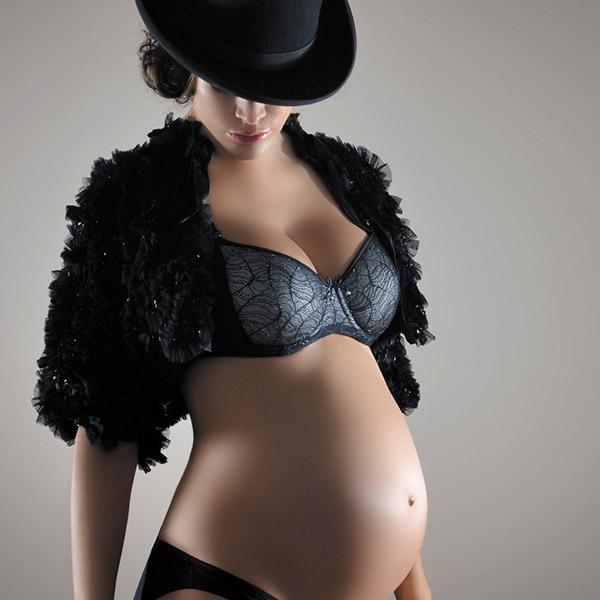 Soutien gorge de grossesse et d'allaitement avec armatures magic noir Cache coeur