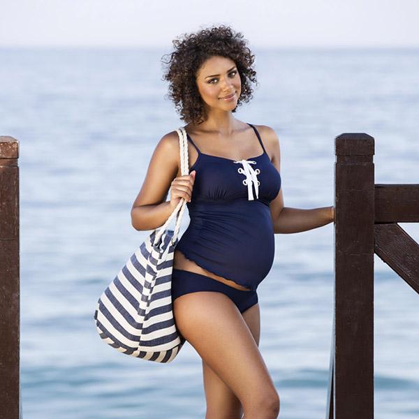 Maillot de bain de maternité shorty new port marine Cache coeur