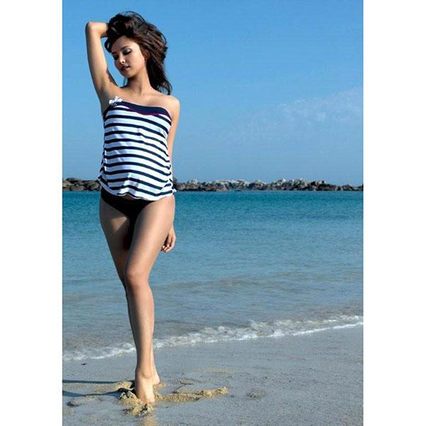 Maillot de bain de maternité tankini 2 pièces marina marine Cache coeur