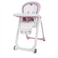Chaise haute bébé polly progres5 - 4 roues pink