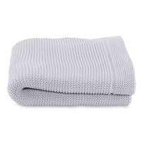 Couverture tricot en maille 100% coton light grey