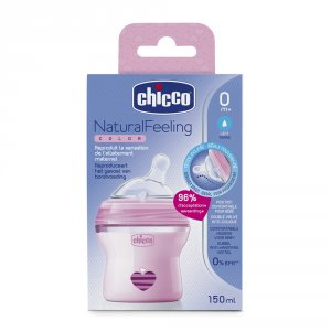Chicco Biberon naturalfeeling tétine inclinée 150ml 0+m rose flux lent