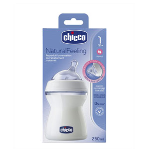 Chicco Biberon naturalfeeling tétine inclinée 250ml 1m+