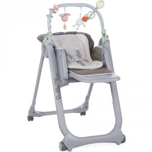 Chaise haute polly magic relax 4 roues dove grey