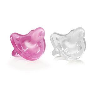Lot de 2 sucettes physio soft silicone fille 6-12 mois