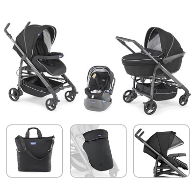 Pack poussette trio love 2016 black Chicco