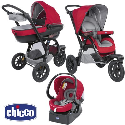 Pack poussette trio activ3 top red berry Chicco