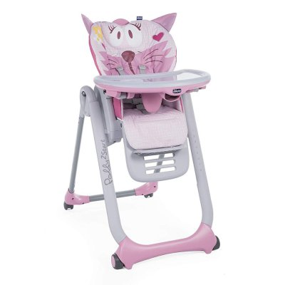 Chaise haute polly 2 start 4 roues miss pink Chicco