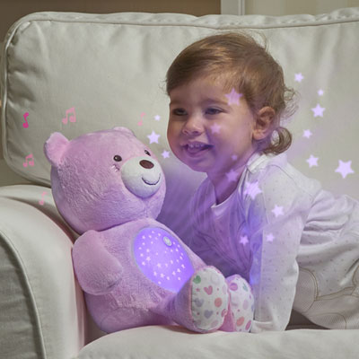 Veilleuse peluche ourson projecteur first dream rose Chicco
