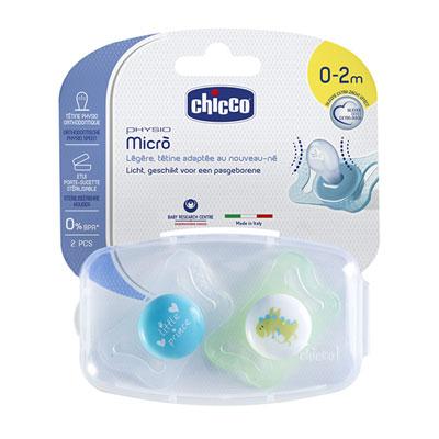 Lot de 2 sucettes physio silicone micro 0-2m Chicco