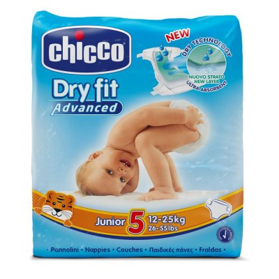 Carton de 5 paquets de 34 couches t5 dry fit advanced 12/25 kg Chicco