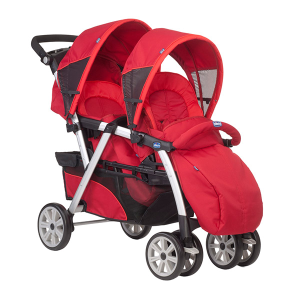 Poussette jumeaux together avec 2 coques key fit red Chicco