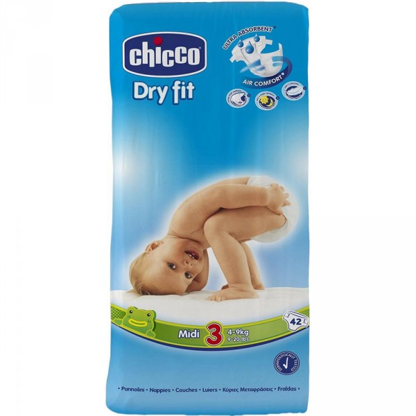 Carton de 210 couches t3 dry fit 4/9 kg Chicco