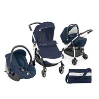 Pack poussette trio combi family bleu avec broderies