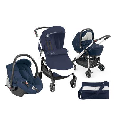 Pack poussette trio combi family bleu avec broderies Cam