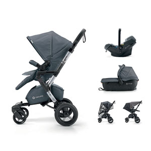 Poussette combiné trio neo travel set steel grey