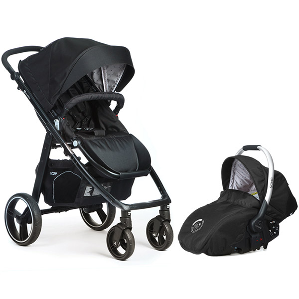 Poussette combiné duo 4 roues loop + coque sono chakra Casualplay