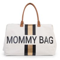 Sac à langer mommy bag blanc rayé black/gold