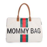 Sac à langer mommy bag blanc rayé green/red