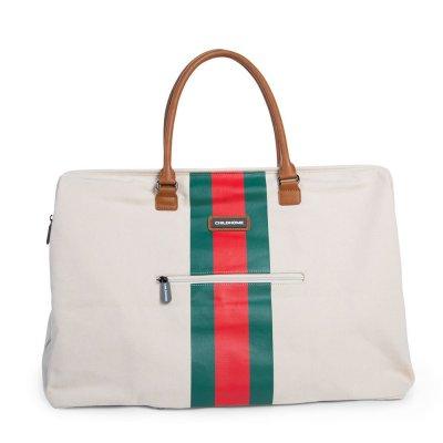 Sac à langer mommy bag blanc rayé green/red Childhome