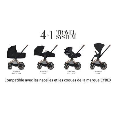 Poussette 4 roues e-priam rosegold/premium black Cybex