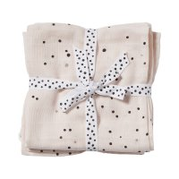 Lot de 2 langes 70x70cm dreamy dots rose poudré