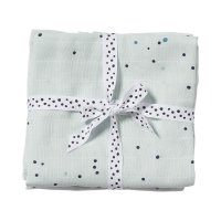 Lot de 2 langes 120x120cm dreamy dots blue