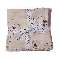Lot de 2 langes 70x70cm sea friends powder