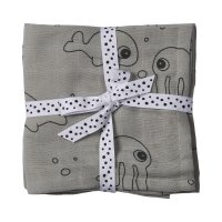 Lot de 2 langes 70x70cm sea friends grey