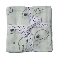 Lot de 2 langes 120x120cm sea friend blue