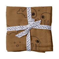 Lot de 2 langes 70x70cm sea friends mustard