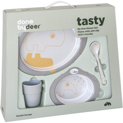 Coffret repas dinner set contour grey/gold Done by deer