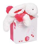 Peluche bébé lapin pompon 25 cm fraise
