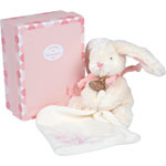 Peluche bébé pantin avec doudou lapin bonbon rose pas cher