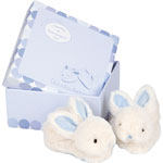 Coffret chaussons bébé bleu lapin bonbon pas cher