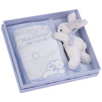 Protège carnet de santé lapin bonbon bleu