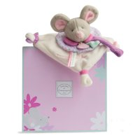 Doudou attache sucette souris pearly