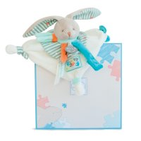 Doudou attache sucette lapin happy