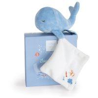 Peluche bébé pantin baleine avec doudou bleue