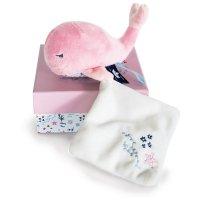 Peluche bébé pantin baleine avec doudou rose