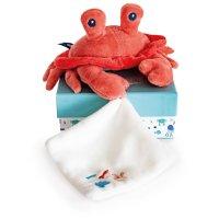 Peluche bébé pantin crabe avec doudou corail