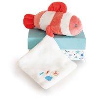 Peluche bébé pantin poisson mignon avec doudou corail