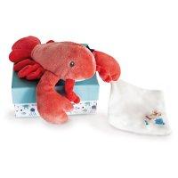 Peluche bébé pantin homard avec doudou corail
