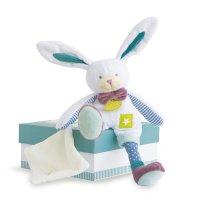 Peluche bébé pantin lapin blanc avec doudou les ptitous