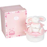 Boite à musique tournante lapin bonbon rose
